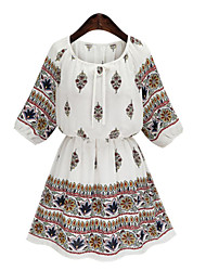 Women's Boho Casual/Daily Plus Size Street chic Sheath Dress,Print Round Neck Above Knee ½ Length Sleeve Cotton Summer Mid Rise