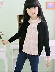 Girl's Casual/Daily Solid Sweater & Cardigan,Polyester Winter / Spring / Fall Black / Pink / Red / Yellow