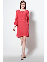 A tunica Vestito Da donna-Casual / Spiaggia Vintage / Stoffe orientali Tinta unita Rotonda Sopra il ginocchio Maniche a ¾ RossoLino /