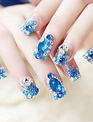 24PCS Fashion Jewel Decorate Blue Glitter Nail Tips