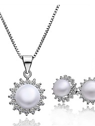 Platinum Plated diamond crystal ball flower pearl jewelry set for women party necklace/earring  Sets S024