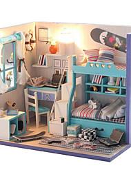 van den Bergh, DIY handgemachte blaue Hütte zusammengebautes Modell Geschenk