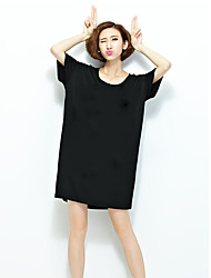 Women's Casual/Daily Simple T Shirt Dress,Solid Round Neck Knee-length ½ Length Sleeve Black Polyester Summer