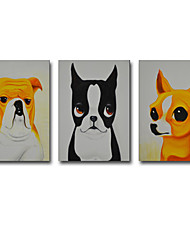 Oil Painting Modern Abstract Animal Pet Dog Set of 3 Hand Painted Natural Canvas With Stretched Frame