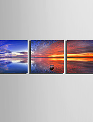 E-HOME® Stretched Canvas Art A Boat On The Water Decoration Painting  Set of 3