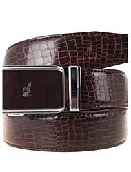 A4002 Men's Belts Cowskin Faux Crocodile Pattern Youth Leisure Business Automatic Buckle Belts Coffee