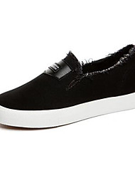 Damen-Flache Schuhe-Lässig-Leinwand-Flacher Absatz-Komfort-Weiß Schwarz