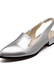 Women's Shoes Patent Leather Summer Slingback / Pointed Toe Sandals Casual Low Heel Slip-on Black / White / Silver