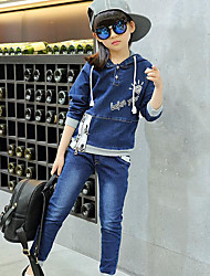 Girl's Casual/Daily Print Dress / Jeans / Clothing Set,Rayon Spring / Fall Blue