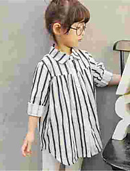 Girl's White Blouse,Striped Cotton Spring / Fall