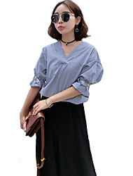 Women's Going out Vintage / Boho Summer Blouse,Striped V Neck ½ Length Sleeve Blue Polyester Thin