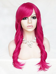 Color Cosplay Wig Fuxia 26 Inch High Temperature Curly Hair Silk Wig