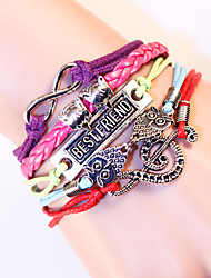 Multilayer Braided Bracelets Antique Alloy Owl Anchor Infinity Love Charm Woven Leather Bracelet