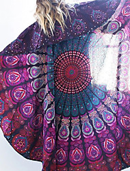 Women's Round Cover-Up,Floral Chiffon White / Purple / Green / Red / Black / Dark Blue