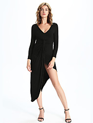 Women's Casual/Daily / Formal Simple Sheath Dress,Solid V Neck Maxi Long Sleeve Red / Black Polyester
