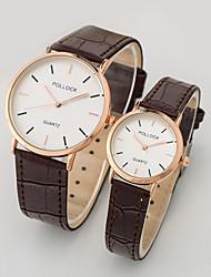 moda casual relógio de quartzo banda pu do casal
