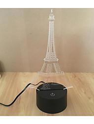 3D ledeiffel башня шаблон USB свет ночи