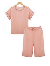 Damen Solide Einfach Lässig/Alltäglich T-shirt,Rundhalsausschnitt Sommer Kurzarm Rosa Polyester Undurchsichtig