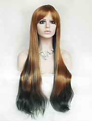 Europe And The United States With Brown Blackish Green Color Mixing 28 Inch Long Straight Hair Nylon Hair Wigs