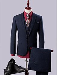 Navy Blue Slim Fit Three-Piece Suit