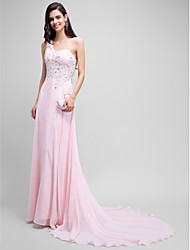 Formal Evening Dress - Sparkle & Shine A-line One Shoulder Court Train Chiffon with Beading