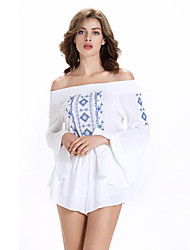 Women's Embroidered White Jumpsuits,Sexy Boat Neck Long Sleeve