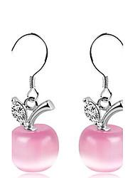 925 Sterling Silver Teardrop Opal Crystal Apple Long Paragraph Earrings