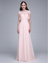 2017 Lanting Bride® Sweep / Brush Train Chiffon Bridesmaid Dress Sheath / Column Sweetheart with Lace