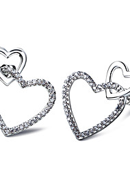 Sweet Look Women Heart Studs Earrings Nickel Free & Lead Free Top Quality AAA Cubic Zirconia Platinum Plated