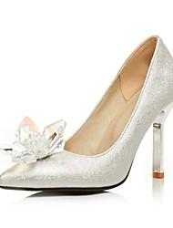 Damen-High Heels-Büro / Lässig-PU-Stöckelabsatz-Absätze / Spitzschuh-Silber