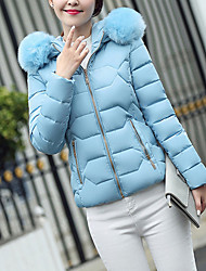 Women's Short Padded Coat,Simple Casual/Daily Solid-Nylon Polypropylene Long Sleeve Hooded
