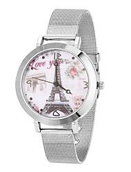 Mulheres Relógio de Moda / Relógio de Pulso Quartz Relógio Casual Aço Inoxidável Banda Torre Eiffel / Legal Prata / Dourada marca-