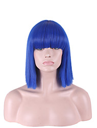 Straight Bright Blue Color with Bangs Hari Cut Short Synthetic Wigs for Womens Cosplay Style
