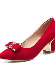 Damen-High Heels-Büro / Kleid / Lässig-Samt-Blockabsatz-Absätze / Pumps / Spitzschuh-Schwarz / Rot