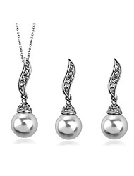 Women's Leaf-shaped Pearl Earrings Necklace Set