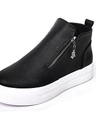 Damen-Sneaker-Lässig-PU-Flacher Absatz-Komfort-Schwarz Weiß Silber