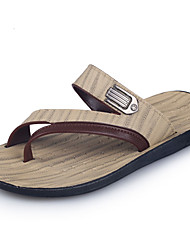 Men's Slippers & Flip-Flops Summer PU Casual Flat Heel Others Brown Beige Walking