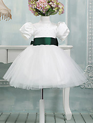 Ball Gown Knee-length Flower Girl Dress - Satin Short Sleeve Jewel with Bow(s)