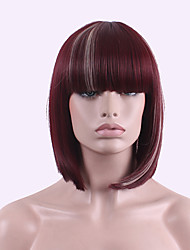 Best-selling Europe And The United States COS Wig Red Brown Dyed Polyester 10 Inch