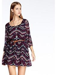 heartsoul женщин выходить простой шифоновое платье, печать ˙U шеи выше колена ¾ рукав зеленый / фиолетовый полиэстер лето