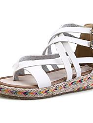 женская обувь пу плоские пятки комфорт / круглые сандалии пальца ноги платье черный / коричневый / белый