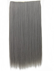 5Clips Heat Resistant Fiber Synthetic Clip in Hair Extensions Straight 120Grams Women Hairpiece Accessories Grey
