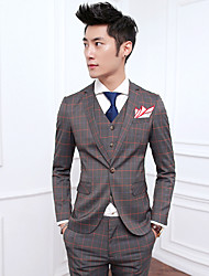 Suits Slim Fit Notch Single Breasted One-button Cotton Blend Checkered / Gingham 3 Pieces