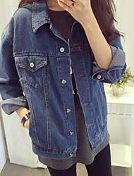 Women's Casual/Daily Street chic Spring Denim Jackets,Solid Shirt Collar Long Sleeve Silver Cotton Medium