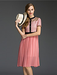 Women's Going out Cute A Line Dress,Patchwork Round Neck Knee-length Short Sleeve Pink Polyester Summer