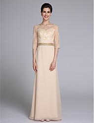 Lanting Bride® Fourreau / Colonne Robe de Mère de Mariée  Longueur Sol Demi Manches Mousseline de soie Dentelle - Billes