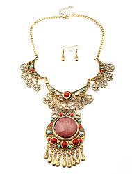 Europe Hollow Teardrop Earrings Necklace Set