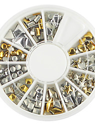 1 paleta de forma diferente de prata dourada decoração da arte do prego
