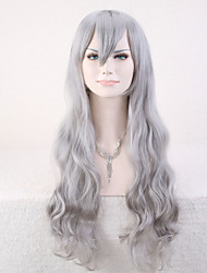 Capless Gray Color High Quality Natural Curly Synthetic Wig