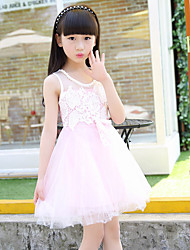 Girl's Cotton Summer Fashion Lace And Bowknot Sleeveless Dress